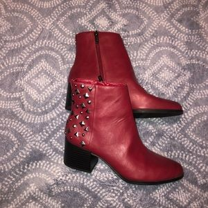 dark red stud boots